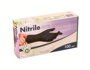 Handschoenen nitril zwart ongepoederd M 100st