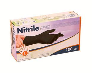 Handschoenen nitril zwart ongepoederd L 100st