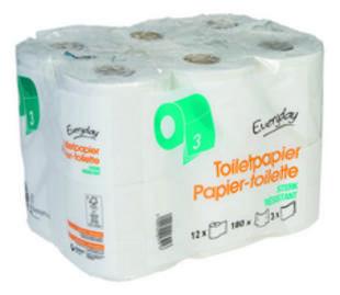 Toiletpapier sterk 3 lagen  180v 12 rollen